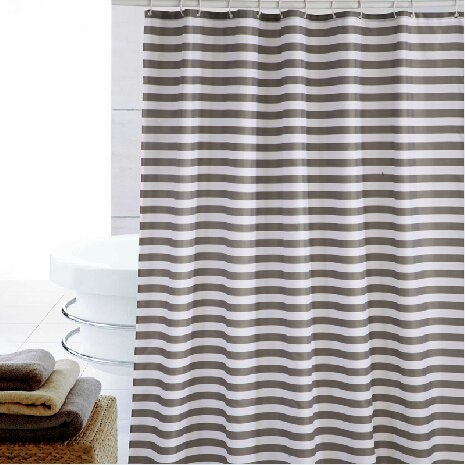 Eforcurtain Extra Long Striped Mildew-Free Water-Repellent Fabric Shower Curtain,Grey/gray White (72-inch by 78-inch) (Long Shower Curtain compare prices)
