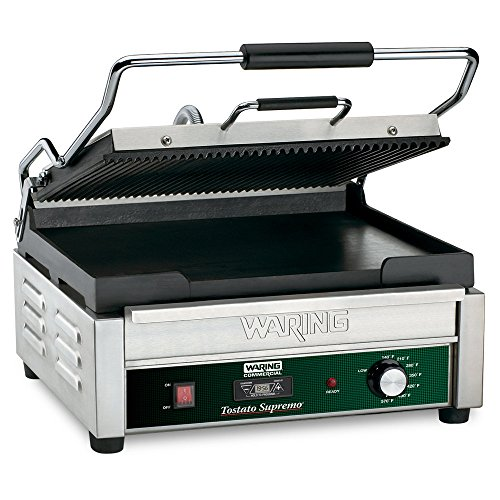 Waring Commercial Wdg250T Grooved Top And Flat Bottom Grill With Timer, 120-Volt