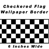 Checkered Flag Cars Nascar Wallpaper Border-6 Inch (Black Edge)