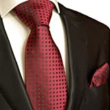 ☬  Necktie Set 2pcs. Tie & Handkerchief by Paul Malone burgundy red black wedding tie for men