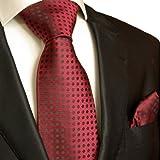 Necktie Set 2pcs. Tie & Handkerchief by Paul Malone burgundy red black wedding tie for men image