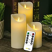 WoneNice flickering flameless candles - 4-Inch,5-Inch,6-Inch Flickering Flameless LED Ivory Real Wax Candles with Remote Timer-Set of 3 by WoneNice