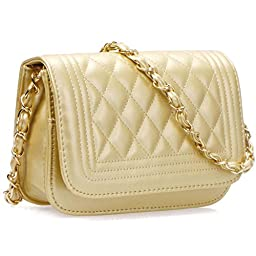 BMC Womens Gold Colored PU Faux Leather Diamond Quilted Pattern Mini Handbag Shoulder Strap Clutch