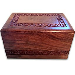 Quality Wood UrnsTM Unique Decorative Rosewood Light Brown Hand Carved Flower Cremation Funeral Urn Biodegradable Burial Memorial Keepsake for Human or Pet Dog or Baby Cat Ashes (Medium)