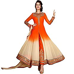 Divine Fashion Studio Women's Georgette Anarkali Suit Dress Material (33036_ORANGE)