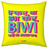 Valentine Special Gift for Husband Wife Boyfriend Girlfriend Yellow 12X12 Filled Cushion No If No But Follow Wife Biwi Love Heat Quirky Relationship Gift for Him Her Men Birthday Anniversary Everyday