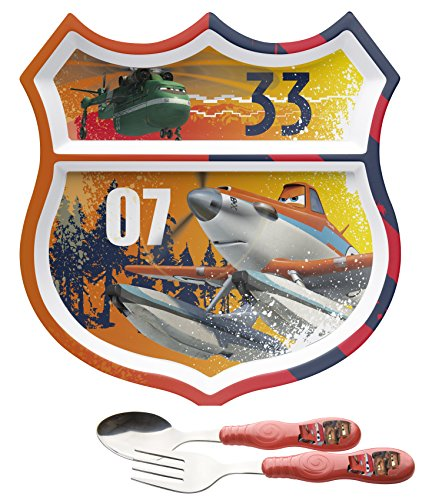Planes Fire And Rescue Divided 2 Section Plate & Fork / Spoon Flatware Set front-678680