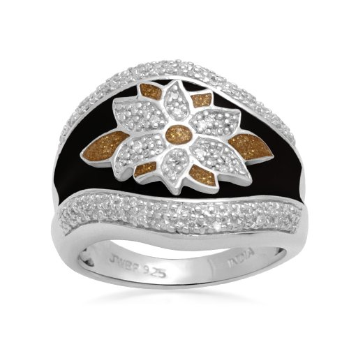 Sterling Silver Black and Gold Enamel Flower Diamond Ring (1/5 cttw, I-J Color, I2-I3 Clarity), Size 9