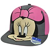 Disney Minnie Mouse Women Ladies Close Up Face Flat Bill Snapback Pink Hat Cap