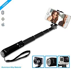 ZAAP®(USA) NUSTAR1 Bluetooth Aluminium Premium Selfie Stick with In-built Remote Shutter | 4000+ clicks per charge | For iPhone, Andriod, Gopro & other Smartphones