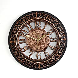 Foxtop 14 Inch European-style Vintage Retro Antique Royal Style Resin Wall Clock, Creative Home Living Room Boutique Hotel Mute Wall Clock (Copper)
