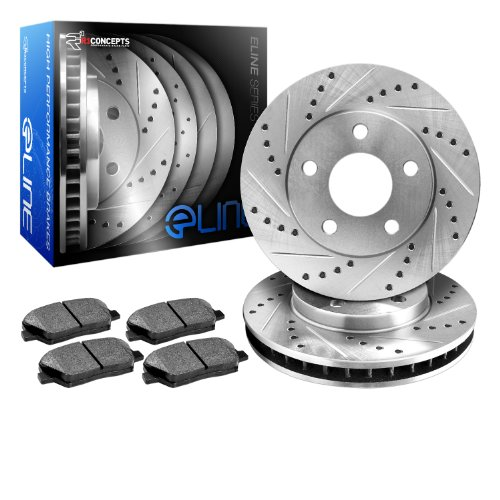 1992-1997 Subaru SVX Rear eLine Drilled Slotted Brake Disc Rotors & Ceramic Pads