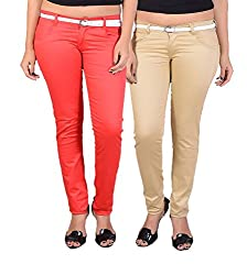 Goodgift Brown & Red Cotton Lycra Jeans