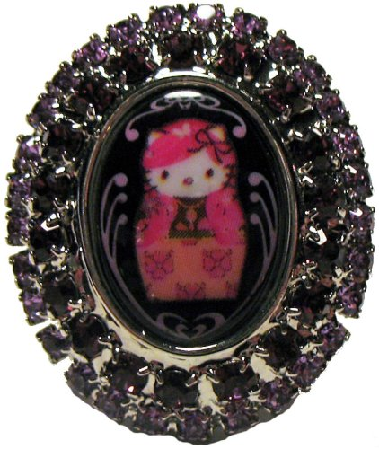 Tarina Tarantino Pink Head Russian Nouveau Crystal Framed Ring