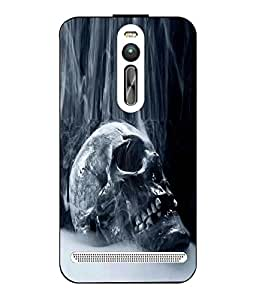 Snazzy Skull Printed Blue Hard Back Cover For Asus Zenfone 2