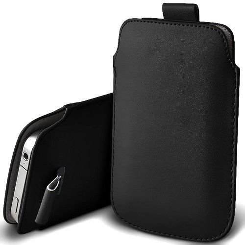Samsung Galaxy S4 / S IV i9500 Black Pull Tab Pouch High Quality Slim Pu Leather Case Cover Plus Screen Protector & Screen Polishing Cloth