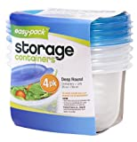 Easy Pack Deep Round Reuseable/Disposable 25-Ounce Food Storage Containers and Lids, 739ml, 4-Pack