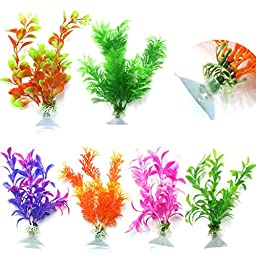 uxcell® 6 Assorted Aquarium Ornament Plastic Decoration Plant with sucker base