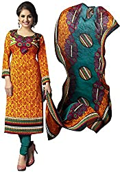 The Desi Attire Women's Crepe Unsticthed Dress Material (108_Orange_40)