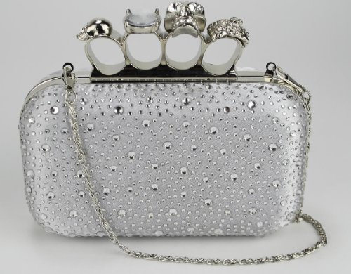 Womens Silver Skull Knuckle Rings Diamantes Clutch Evening Bag - KCMODE