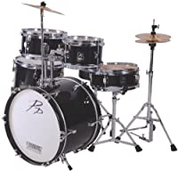 P.P. 5 Piece Junior Drum Kit, Black by Performance Percussion