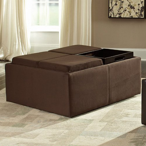 Homelegance Coffee Table Ottoman with 4 Trays in Microfiber