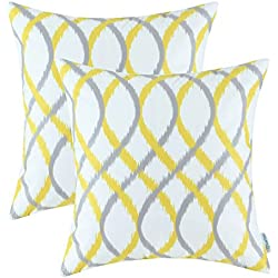 Pack of 2 CaliTime Throw Pillow Covers, Modern Two-tone Waves Geometric, 18 X 18 Inches, Gray Yellow