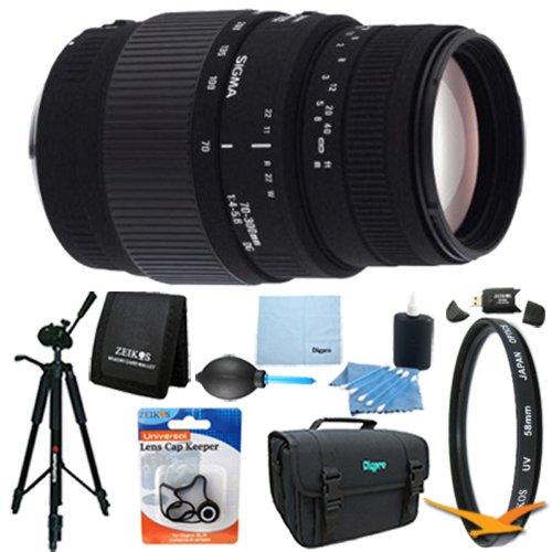 Sigma 70-300Mm F/4-5.6 Dg Macro Telephoto Zoom Lens For Canon Dslrs Lens Kit Bundle