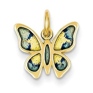 14k Gelb Gold Licht Blau, dunkel Blau und Gelb Emaillierte Schmetterling Charme