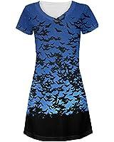 Bats in the Night Sky All Over Juniors V-Neck Dress