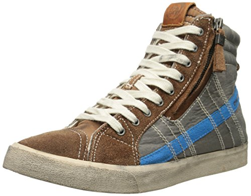 Diesel Men's Velows String Nylon Fashion Sneaker, Toffee/Silver Mink, 10 M US