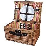 Willow Picnic Basket w Service for 2 in Multi Picnic Stripe