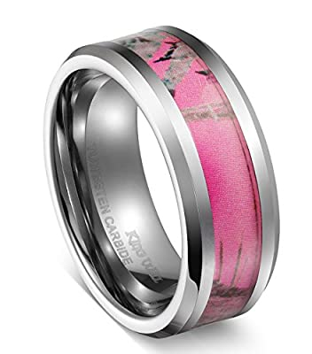 King Will 8mm Tungsten Carbide Ring Women's Camo Hunting Camouflage Wedding Band Pink Tree Any Size