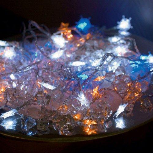 LED Lichterkette mit Schneeflocken-Motiv für innen 10 Kerzen batteriebetrieben