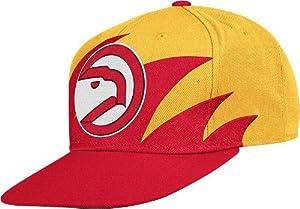 NBA Mitchell & Ness Atlanta Hawks Mens Sharktooth Snapback Hat - Red Gold by Mitchell & Ness