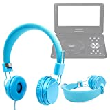 DURAGADGET Ultra-Stylish Blue Kids Fashion Headphones With Padded Design, Button Remote And Microphone For DBPower 9.5