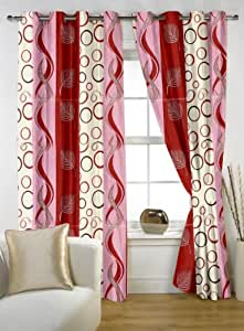 """Story@Home Polyester Window Curtain 48x60"""", Maroon"""