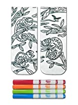Crayola Color-In Socks with 1 Pair of Socks and 4 Fabric Markers - Chameleon Design