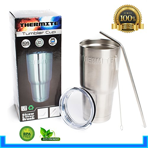 Premium Stainless Steel Tumbler with Lid, Straw & Cleaning Brush, 30 oz, Travel Insulated Coffee Mug, Keeps Hot Liquids Hot & Cold Liquids Cold, Spill Proof Technology, Antibacterial (Monogram Beverage Center compare prices)