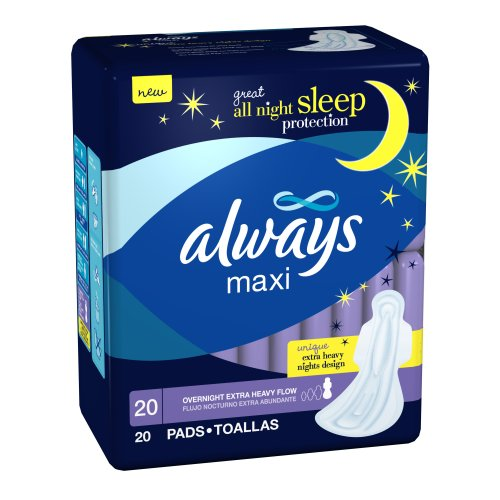 Always Maxi Overnight Extra Heavy Flow With Wings 20 Count, (Pack of 6) always