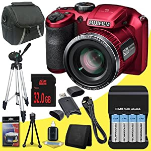 Fujifilm FinePix S4800 16 MP Digital Camera (Red) + 4 AA Pack NiMH Rechargeable Batteries and Charger + 32GB SDHC Class 10 Memory Card + Mini HDMI Cable + Carrying Case + Full Size Tripod + SDHC Card USB Reader + Memory Card Wallet + Deluxe Starter Kit