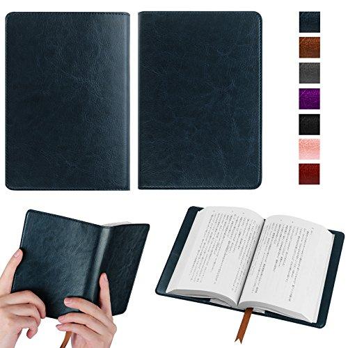 【Fintie】オリジナル高級PUレザー ブックカバー 手帳型 軽量 耐久性 文庫判サイズ カードポケット付き しおり付き シンプルなデザイン(ネイビー)