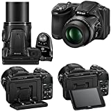 """Nikon COOLPIX L830 16 MP CMOS Digital Camera with 34x Zoom NIKKOR Lens, HD Video & Tiltable 3"""" LCD - Black (Import) + 4 AA High Capacity Batteries with Quick Charger + 10pc Bundle 32GB Deluxe Accessory Kit w/ HeroFiber® Ultra Gentle Cleaning Cloth"""