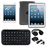 Skque smoke S-Line TPU Gel Case Cover + Anti Scratch Screen Protector + Mini Bluetooth Keyboard + Wireless Bluetooth Stereo Rechargeable Headphone Headset with Answer Button for Apple iPad Mini
