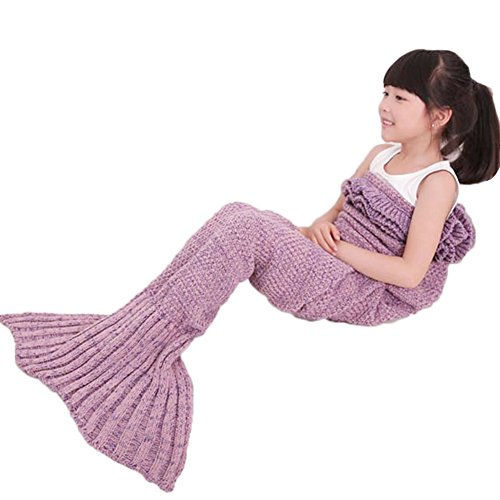 Mermaid Tail Blanket with Ruffles Crochet Warm Living Room Sofa Throws Perfect Christmas gift for Kids 55.18 inch x 27.56 inch (140cm x 70cm) (Lavender) (Kids Room Organization compare prices)