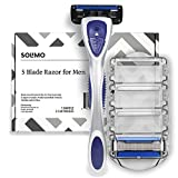 Amazon Brand – Solimo 5-Blade Razor for Men with Precision Beard Trimmer, Handle & 2 Refills