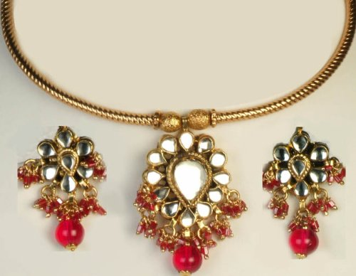 Magenta Kundan Choker Necklace with Earrings - Copper Alloy with Cut Glass
