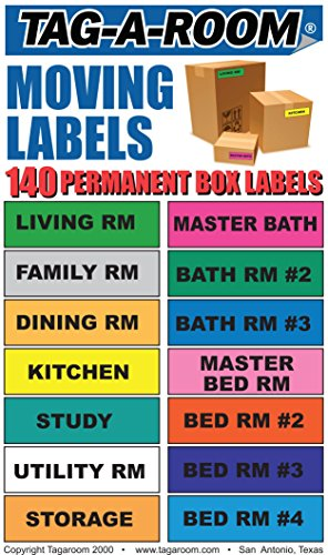 """Tag-A-Room Moving Labels, 140 Count Color Coded Moving Stickers Labels, Moving Supplies 1"""" x 4"""" Each"""