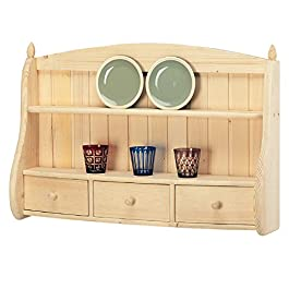 Piattaia credenza country da cucina in legno massello di abete 100x20x67 cm