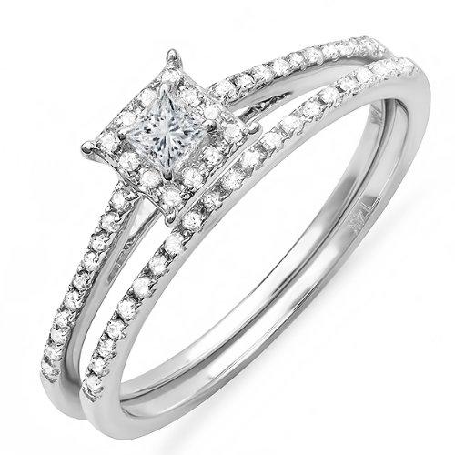 0.40 Carat (ctw) 14k White Gold Princess Diamond Ladies Halo Engagement Bridal Ring Matching Band Set